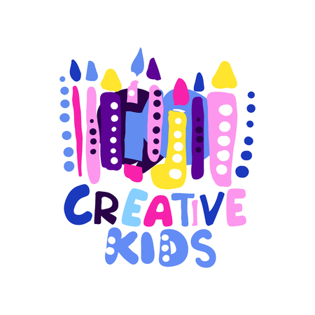 Creative kids design, colorful hand drawn labels for kids club, center, school, art studio, toys shop and any other childrens projects vector illustration isolated on a white background Çizim