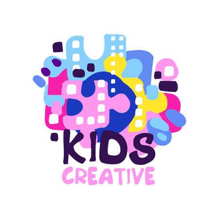 Kids creative, badges for kids club, center, school, art studio, toys shop and any other childrens projects colorful hand drawn vector illustration Banque d'images - 90189711