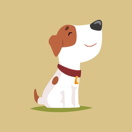 Jack russell puppy character side view, cute funny terrier vector illustration