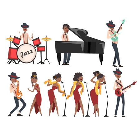 Flat vector set of jazz artists characters isolated on white. Black man playing drums, grand piano, electric guitar, and saxophone. Woman singer in different poses