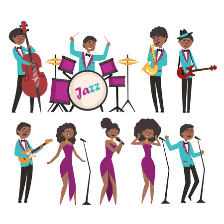 Cartoon jazz artists characters singing and playing on musical instruments. Contrabassist, drummer, saxophonist, guitarists and singers. Flat vector illustration Stock Illustratie