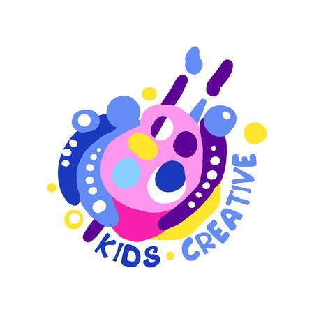 Kinderen creatief ontwerp, kleurrijke labels en badges voor kinderclub, centrum, school, kunststudio, speelgoedwinkel en andere projecten van kinderen hand getekende vector illustratie geïsoleerd op een witte achtergrond Stockfoto - 90189719