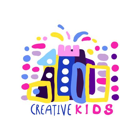 Creatieve kinderen ontwerpsjabloon, labels en badges voor kinderclub, centrum, school, kunststudio, speelgoedwinkel en andere projecten van kinderen kleurrijke hand getrokken vectorillustratie geïsoleerd op een witte achtergrond