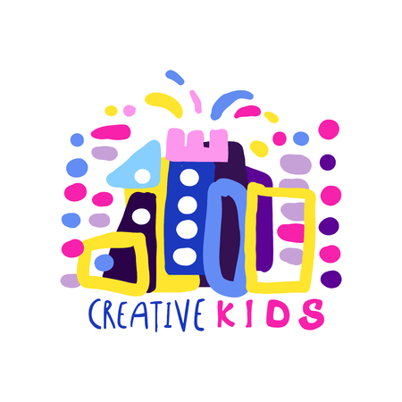 Kreative Kinder entwerfen die Schablone, Aufkleber und Ausweise für Kinderklub, Mitte, Schule, Kunststudio, Spielwarenshop und jede andere gezeichnete Vektorillustration der Kinderprojekte bunte Hand, die auf einem weißen Hintergrund lokalisiert wird Standard-Bild - 90189769