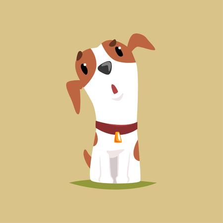 Grappig het puppykarakter van hefboomrussell, leuke terriër vectorillustratie