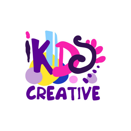 Kids creative colorful design, hand drawn labels and badges for kids club, center, school, art studio, toys shop and any other childrens projects vector illustration Banque d'images - 90191258
