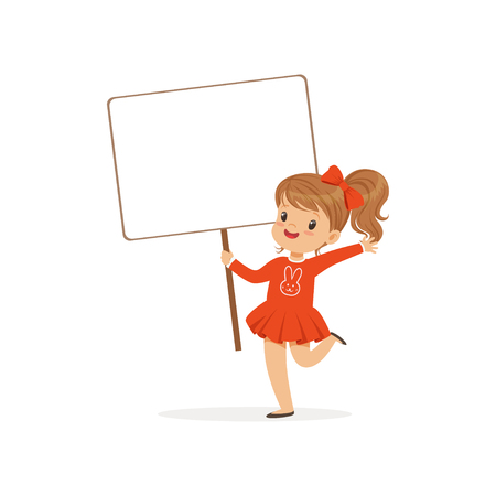 Sweet girl carrying blank signboard, kid standing with placard vector Illustration isolated on a white background