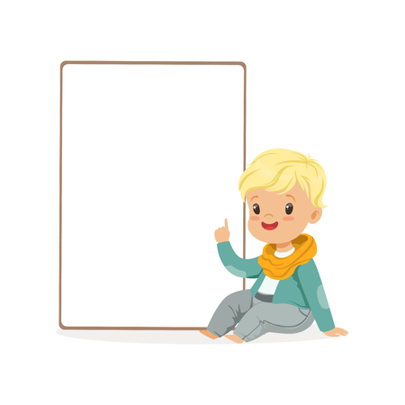 Cute boy character sitting next to white empty message board, kid with placard vector Illustration Illustration
