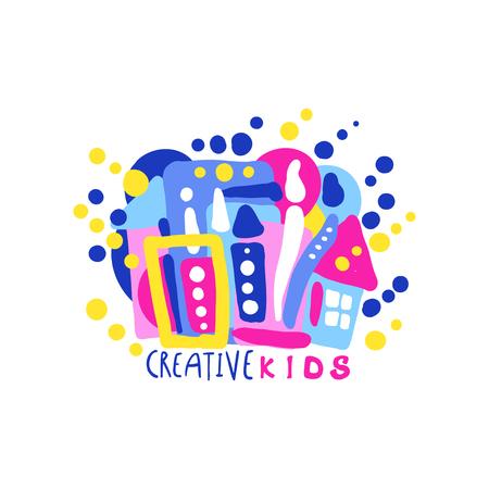 Creatief kinderontwerp, kleurrijke labels en badges voor kinderclub, centrum, school, kunststudio, speelgoedwinkel en andere kinderprojecten met de hand getekende vectorillustratie Stock Illustratie