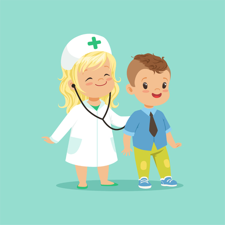 Flat vector illustration of two adorable babies playing in doctor and patient game. Baby girl examining her brother with stethoscope