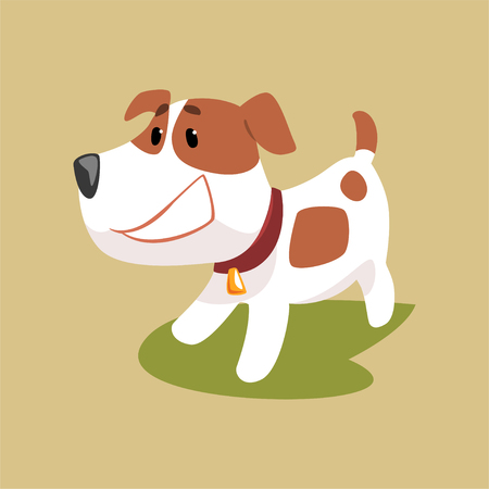 Jack russell puppy character smiling, cute funny terrier vector illustration