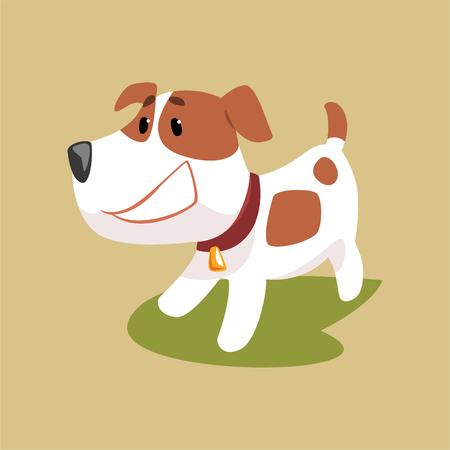 Jack Russell-puppykarakter die, leuke grappige terriër vectorillustratie glimlachen