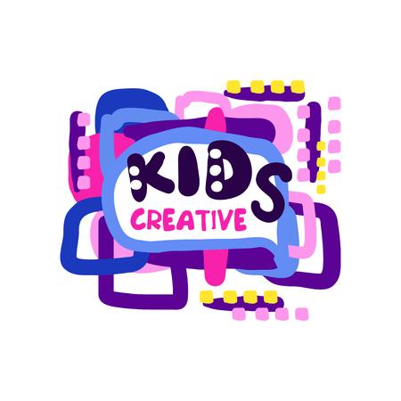 Creatief ontwerp voor kinderen, kleurrijke handgetekende labels en badges voor kinderclub, centrum, school, kunststudio, speelgoedwinkel en andere projecten van kinderen vector illustratie