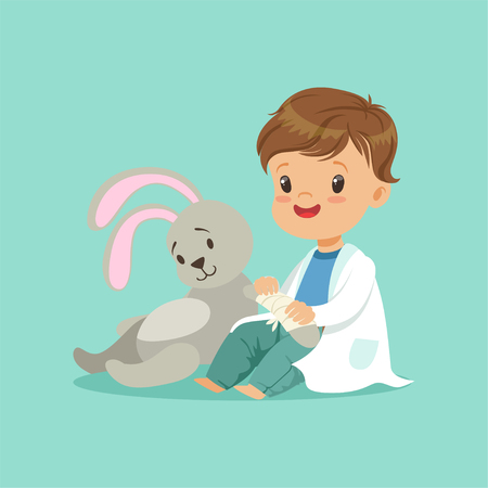 Cute baby boy heals paw of toy bunny. Little doctor and patient concept. Flat design vector illustration Иллюстрация