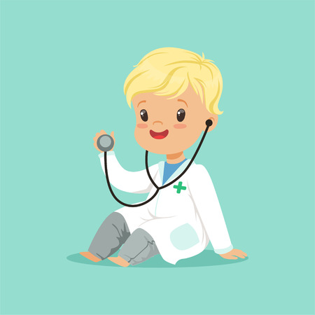 Cheerful toddler boy in white medical gown playing doctor role with stethoscope. Flat design vector illustration Illustration
