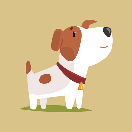 Jack russell puppy character, cute funny terrier vector illustration Illustration