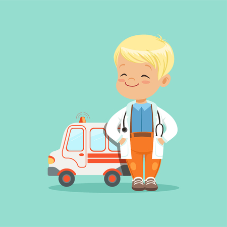 Flat vector of baby boy in white medical coat and stethoscope around his neck standing with hands in pockets near toy ambulance car Illustration