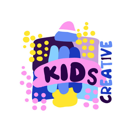 Kinder kreativ, Aufkleber und Ausweise für Kinderclub, Mitte, Schule, Kunststudio, Spielwarenshop und jede andere gezeichnete Vektorillustration der Projekte der Kinder bunte Hand lokalisiert auf einem weißen Hintergrund Standard-Bild - 90249006