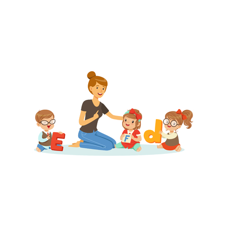 Group of preschool kids and teacher sit on carpet and learn letters. Speech and language therapist job. Vector flat design Çizim