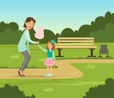 Mother giving cotton candy to her daughter while walking in summer park outside, family leisure vector illustration Illustration