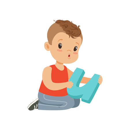 Flat character of preschool boy sitting on the floor with big letter U for diction exercises. Learning through play