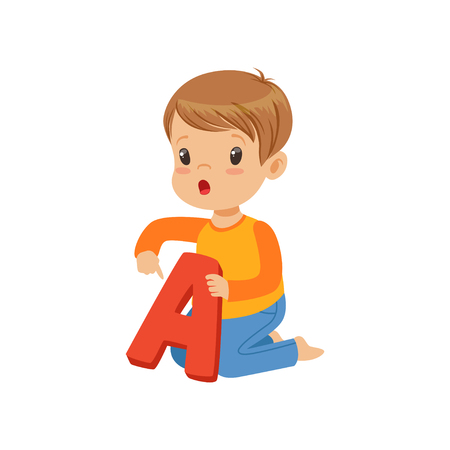 Little boy learning correct pronunciation of letter A. Fun educational game. Colorful cartoon kid character in flat style Ilustração