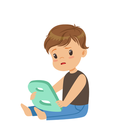 Sad little boy sitting on the floor and trying correctly pronounce letter B. Speech therapy exercise or educational game concept. Flat kid character