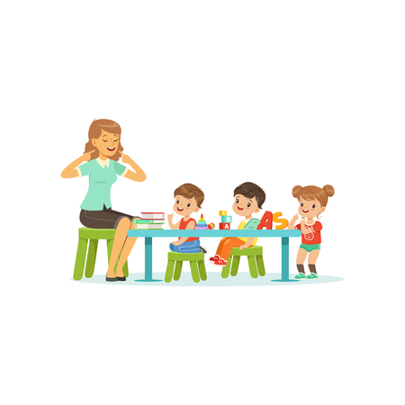 Kindergarten group of little kids, boys and girl doing exercises for development of speech with woman therapist. Flat design characters