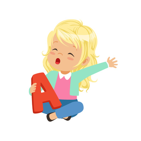 Little blonde girl sitting with crossed legs and holding toy letter A in hand. Educational game for development of speech, therapy exercise. Flat vector design