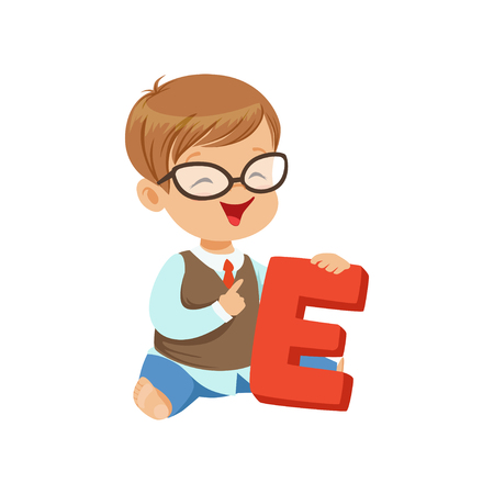 Toddler boy doing speech game exercises on letter E. Learning through fun. Speech and language development concept