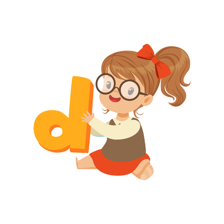 Cheerful baby girl character sitting on the floor with toy letter D for speech games. Cartoon kid character in flat style