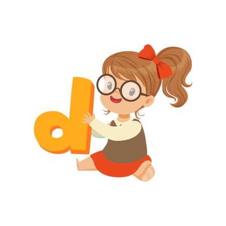 Vrolijke baby meisje karakter zittend op de vloer met speelgoed letter D voor spraak games. Kid stripfiguur in vlakke stijl Stock Illustratie