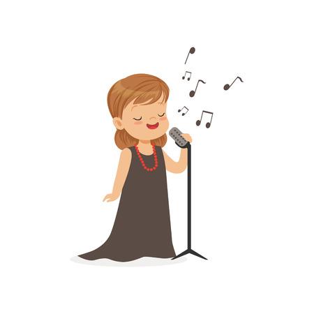 Platte vectorillustratie van zingend meisje met retro microfoon geïsoleerd op wit. Jong geitje dat in de toekomst droomt om beroemde operazanger te worden