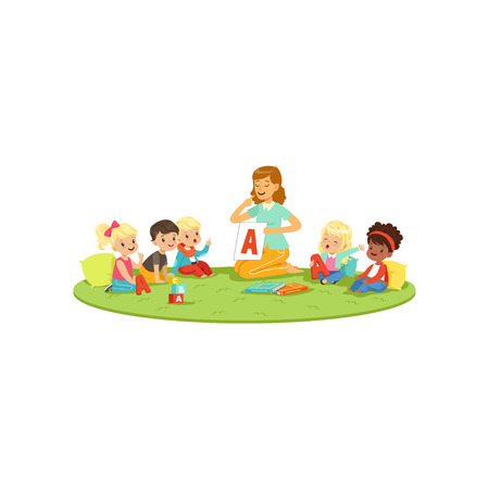 Kids sitting on carpet with teacher and learning to pronounce letter A. Speech therapist teach little boys and girls in playful form Banco de Imagens - 90329185