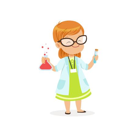 Bambino dai capelli rossi in provette della tenuta delle camice in mani. Costume da scienziato per la carriera nella scuola materna. Personaggio bambino piatta