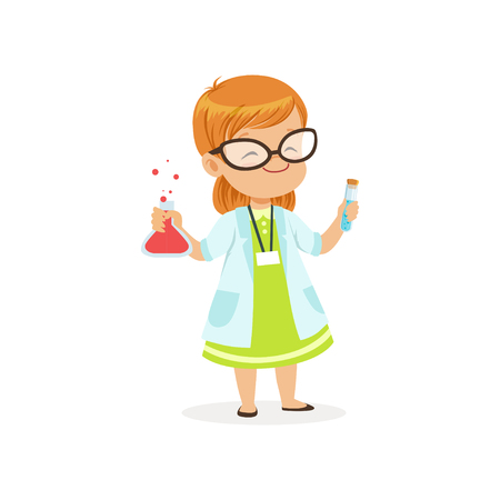 Red-haired child in white coat holding test tubes in hands. Scientist costume for career day in kindergarten. Flat kid character