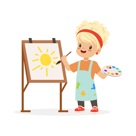Flat vector illustration of little girl painting on canvas. Kid interested in becoming painter. Dream profession concept