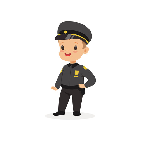 Boy dream of being grown up and working in police department. Kid dressed as police officer. Flat child character 向量圖像