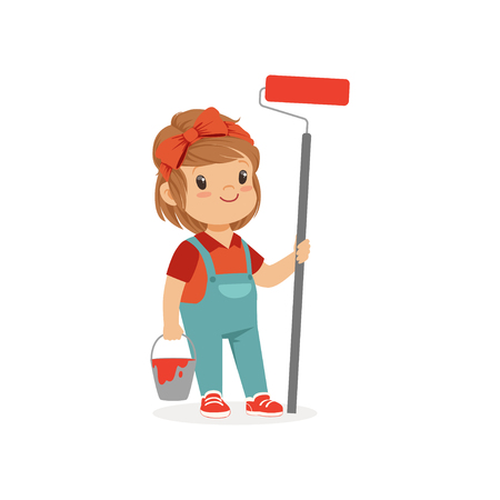 Flat vector illustration of cute little girl standing with bucket and paint roller in hands isolated on white. Child want to be painter. Costume for career day Vettoriali