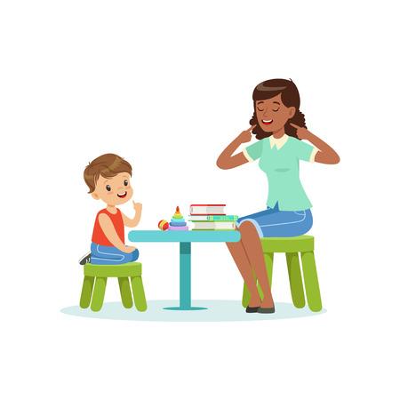 Professionele logopedie voor voorschoolse jongen met therapeut in de kleuterklas. Geïsoleerde platte vector Logo
