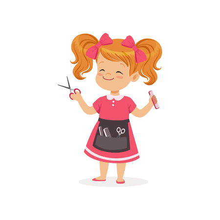 Cartoon preschool girl with apron and barber tools in hands. Hair stylist role play. Career day concept. Flat child character