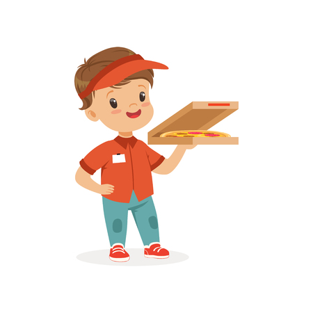 Flat vector illustration of cheerful delivery boy standing with pizza in hand. Worker suit for children role play