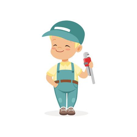 Netter Vorschuljunge gekleidet als Klempner. Karikaturkindercharakter, der erwachsene Arbeitskraft spielt. Kid lernen über Beruf und Beruf Vektorgrafik