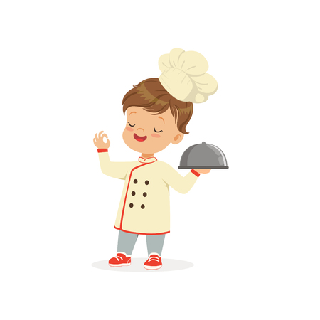 Cartoon character of boy in chef uniform and hat. Kid dream of becoming chef cooker. Isolated flat vector illustration