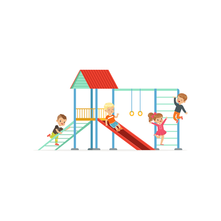Group of preschool kids, boys and girl playing at playground with slide and stairs in kindergarten yard. Cartoon flat design characters