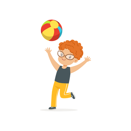 Red-haired little kid playing with colorful rubber ball in kindergarten playground. Summer outdoor activity or game concept. Flat boy character