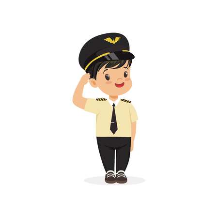 Smiling boy pilot standing isolated on white. Career day in kindergarten. Flat child character in captain uniform