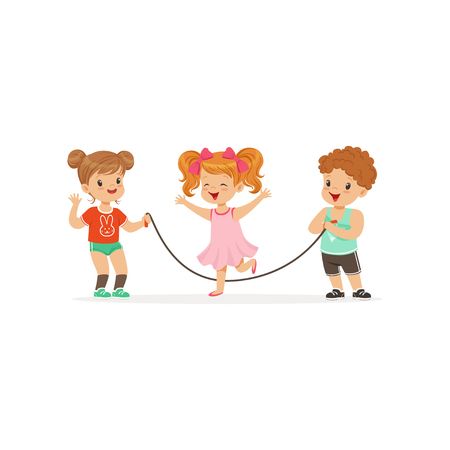 Flat vector illustration of little boy and two girls playing with jumping-rope. Outdoor activity or game concept Vettoriali