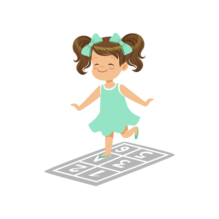 Preschool girl playing in jumping hopscotch game on playground. Outdoor daily activity in kindergarten. Flat kid character