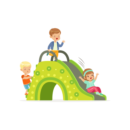Little kids, two boys and girl playing on colorful slide at playground. Cartoon flat children characters